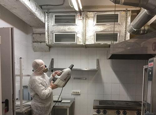 оработка кухни холодным туманом