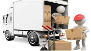 грузчики выносят коробки фургона